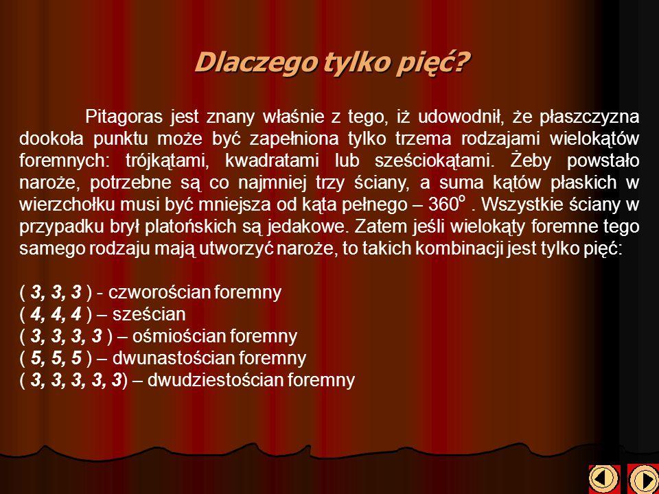 Dlaczego tylko pięć? Pitagoras jest znany właśnie z tego, iż udowodnił, że płaszczyzna dookoła punktu może być zapełniona tylko trzema rodzajami wielo