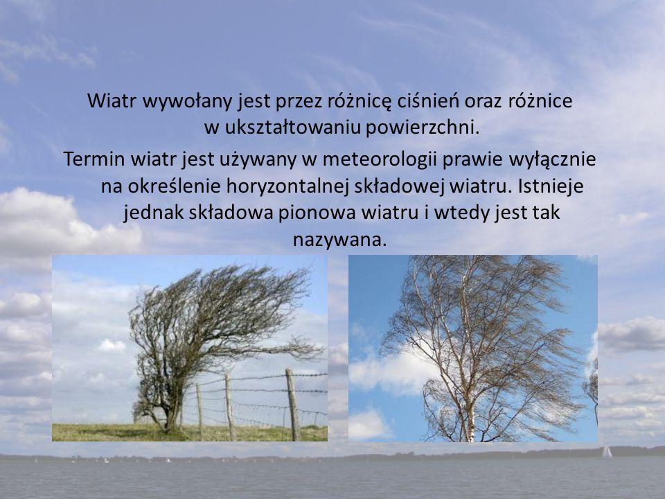 Wiatr wywołany jest przez różnicę ciśnień oraz różnice w ukształtowaniu powierzchni. Termin wiatr jest używany w meteorologii prawie wyłącznie na okre