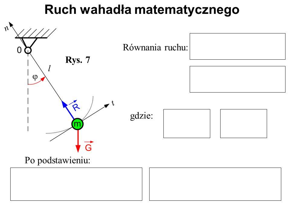 Rys. 7 Równania ruchu: gdzie: Po podstawieniu: Ruch wahadła matematycznego