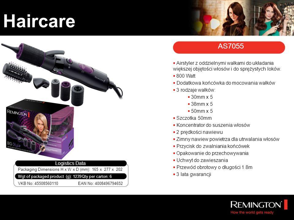 Packaging Dimensions H x W x D (mm): 165 x 277 x 202 VKB No: 45508560110 Wgt of packaged product (g): 1239 Logistics Data EAN No: 4008496794652 Qty per carton: 6  Airstyler z oddzielnymi wałkami do układania większej objętości włosów i do sprężystych loków.