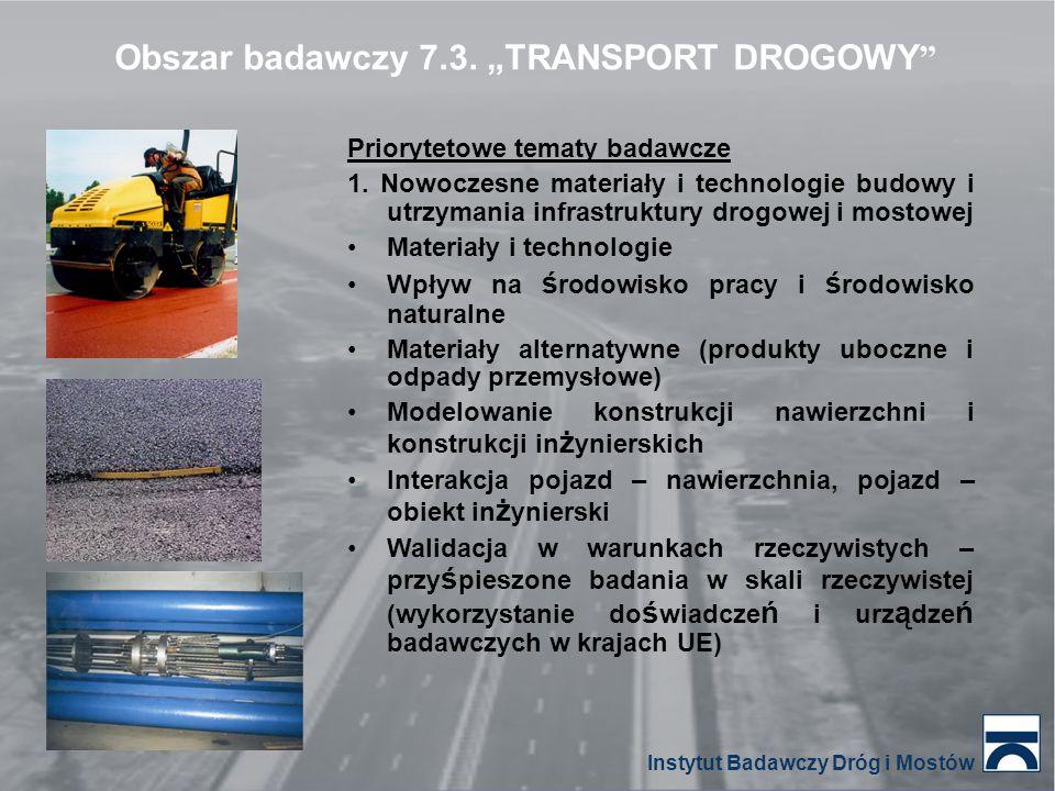 Priorytetowe tematy badawcze 1. Nowoczesne materiały i technologie budowy i utrzymania infrastruktury drogowej i mostowej Materiały i technologie Wpły