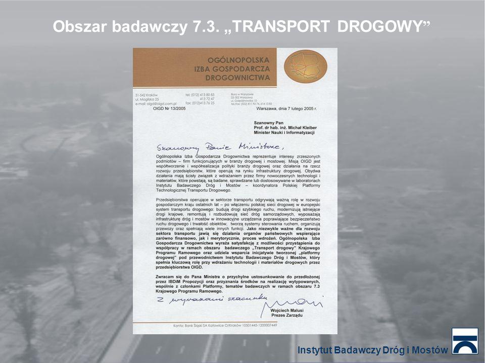 """Obszar badawczy 7.3. """"TRANSPORT DROGOWY """" Instytut Badawczy Dróg i Mostów"""