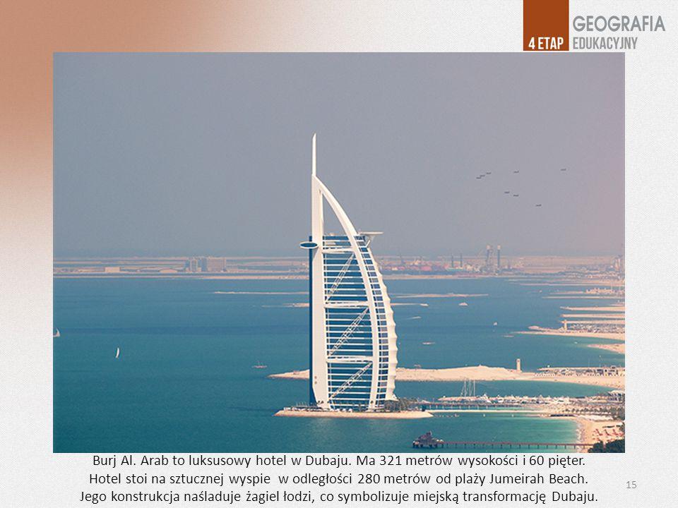 Burj Al. Arab to luksusowy hotel w Dubaju. Ma 321 metrów wysokości i 60 pięter.