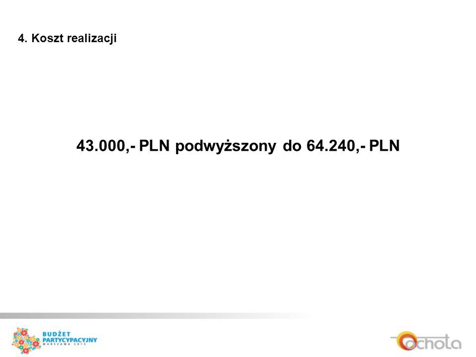 4. Koszt realizacji 43.000,- PLN podwyższony do 64.240,- PLN