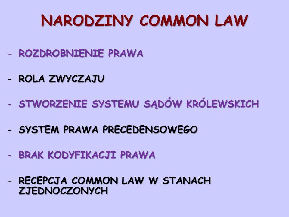 NARODZINY COMMON LAW -ROZDROBNIENIE PRAWA -ROLA ZWYCZAJU -STWORZENIE SYSTEMU SĄDÓW KRÓLEWSKICH -SYSTEM PRAWA PRECEDENSOWEGO -BRAK KODYFIKACJI PRAWA -RECEPCJA COMMON LAW W STANACH ZJEDNOCZONYCH