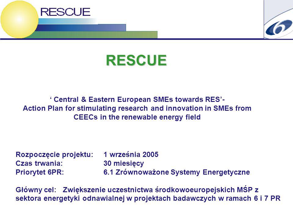 Rozpoczęcie projektu: 1 września 2005 Czas trwania: 30 miesięcy Priorytet 6PR: 6.1 Zrównoważone Systemy Energetyczne Główny cel: Zwiększenie uczestnictwa środkowoeuropejskich MŚP z sektora energetyki odnawialnej w projektach badawczych w ramach 6 i 7 PR RESCUE ' Central & Eastern European SMEs towards RES'- Action Plan for stimulating research and innovation in SMEs from CEECs in the renewable energy field