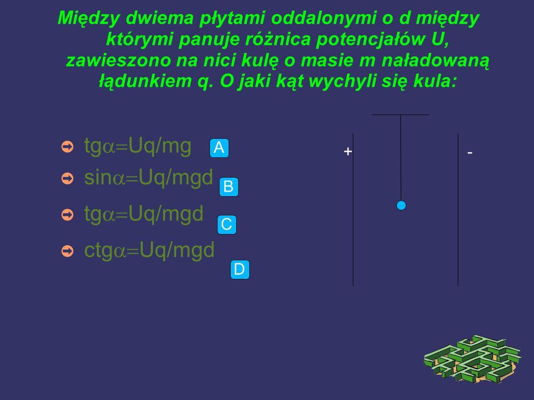 Jaką pracę należy wykonać aby przenieść z nieskończoności w czwarty pusty wierzchołek kwadratu o boku d ładunek 2q: ➲ kq/d  2  kq(  d  0  Nie da się określić, jest zbyt wiele ładunków d d q 2q q C B A D