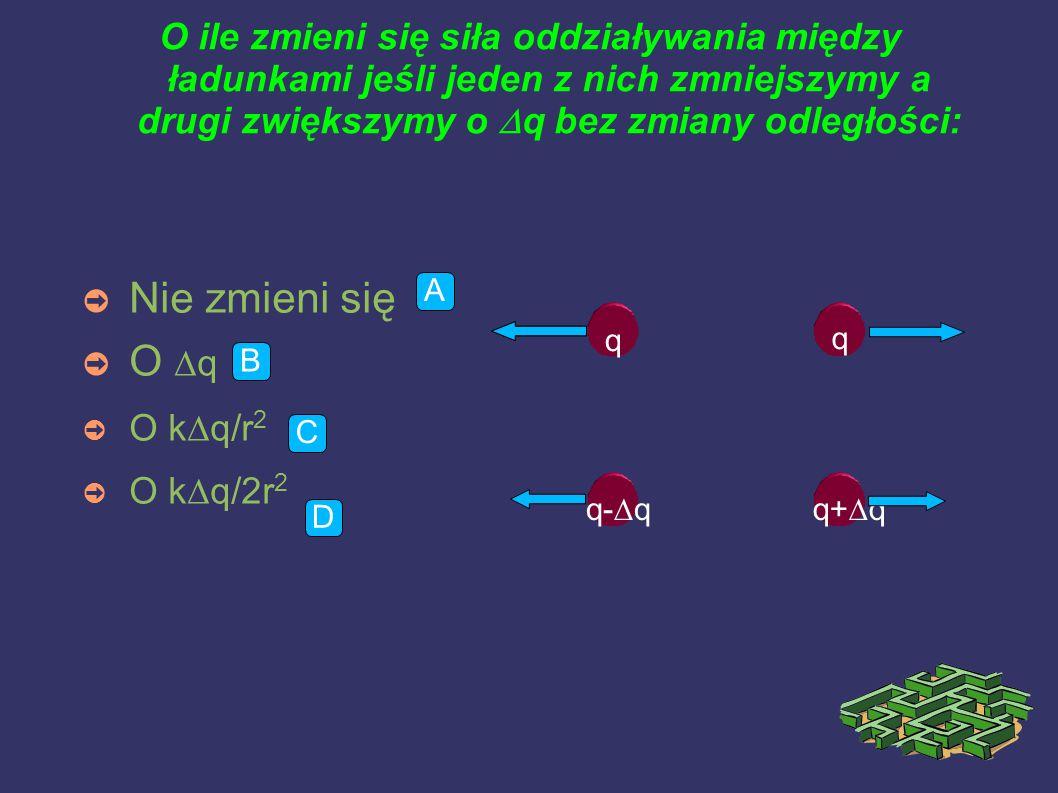 O ile zmieni się siła oddziaływania między ładunkami jeśli jeden z nich zmniejszymy a drugi zwiększymy o  q bez zmiany odległości: ➲ Nie zmieni się ➲ O  q ➲ O k  q/r 2 ➲ O k  q/2r 2 A B C D q q q-  qq+  q