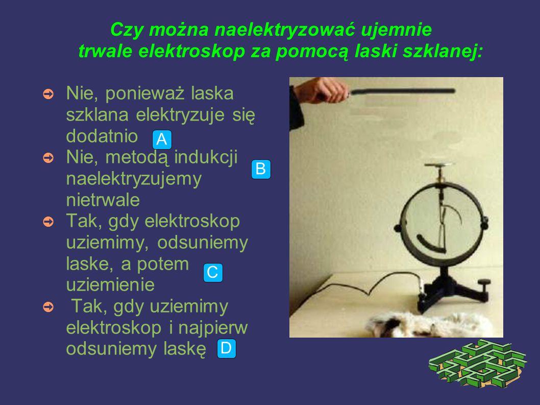 Czy można naelektryzować ujemnie trwale elektroskop za pomocą laski szklanej: ➲ Nie, ponieważ laska szklana elektryzuje się dodatnio ➲ Nie, metodą indukcji naelektryzujemy nietrwale ➲ Tak, gdy elektroskop uziemimy, odsuniemy laske, a potem uziemienie ➲ Tak, gdy uziemimy elektroskop i najpierw odsuniemy laskę A B C D