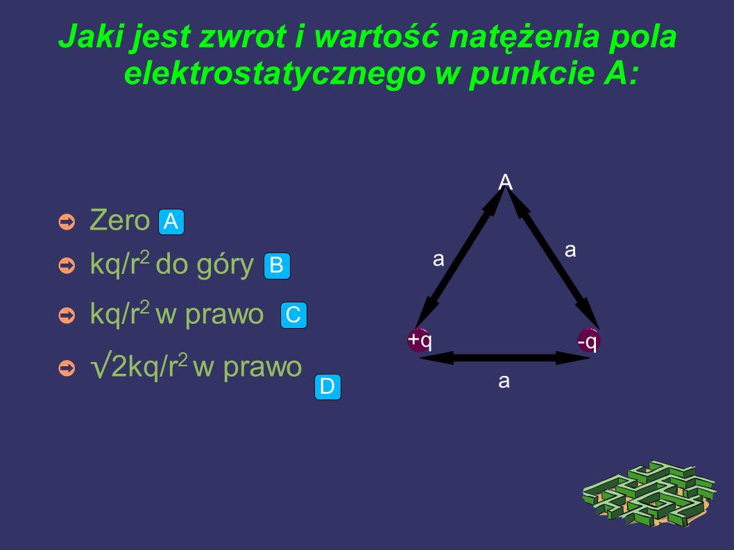 Jaki jest zwrot i wartość natężenia pola elektrostatycznego w punkcie A: ➲ Zero ➲ kq/r 2 do góry ➲ kq/r 2 w prawo ➲ √ 2kq/r 2 w prawo a A +q -q a a A B C D