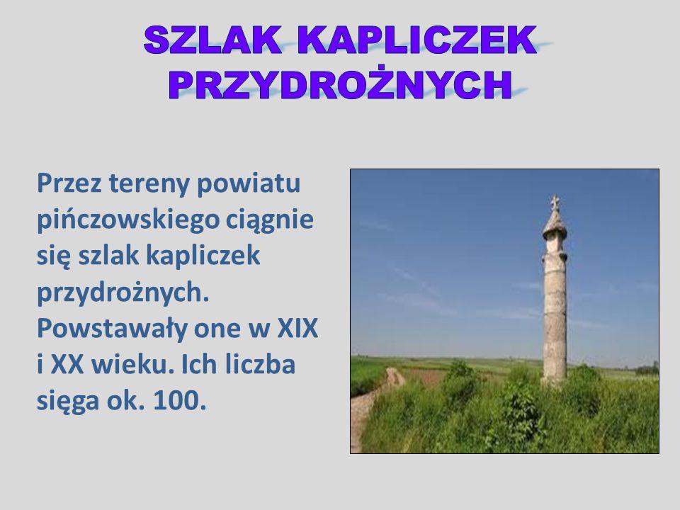Przez tereny powiatu pińczowskiego ciągnie się szlak kapliczek przydrożnych. Powstawały one w XIX i XX wieku. Ich liczba sięga ok. 100.