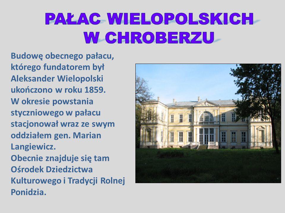 Budowę obecnego pałacu, którego fundatorem był Aleksander Wielopolski ukończono w roku 1859. W okresie powstania styczniowego w pałacu stacjonował wra