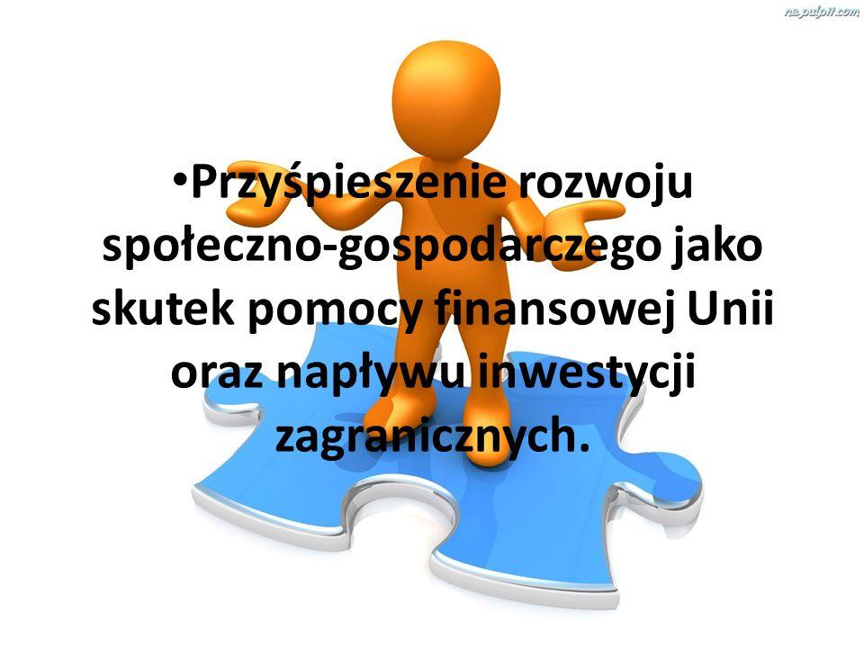 Przyśpieszenie rozwoju społeczno-gospodarczego jako skutek pomocy finansowej Unii oraz napływu inwestycji zagranicznych.