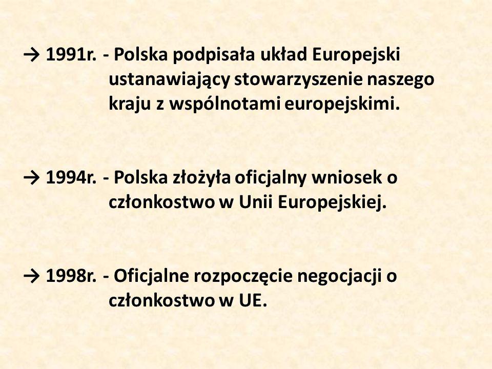 → 1991r. - Polska podpisała układ Europejski ustanawiający stowarzyszenie naszego kraju z wspólnotami europejskimi. → 1994r. - Polska złożyła oficjaln