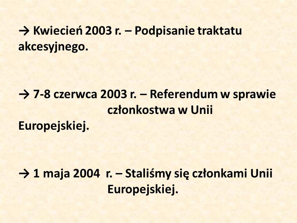 → Kwiecień 2003 r. – Podpisanie traktatu akcesyjnego. → 7-8 czerwca 2003 r. – Referendum w sprawie członkostwa w Unii Europejskiej. → 1 maja 2004 r. –