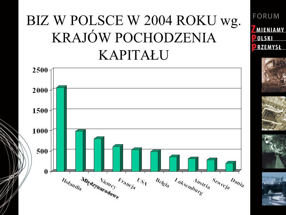BIZ W POLSCE W 2004 ROKU wg. KRAJÓW POCHODZENIA KAPITAŁU