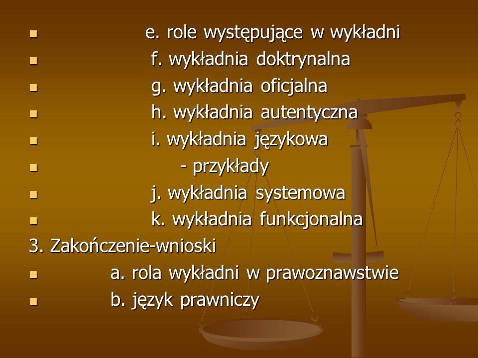 e. role występujące w wykładni e. role występujące w wykładni f. wykładnia doktrynalna f. wykładnia doktrynalna g. wykładnia oficjalna g. wykładnia of