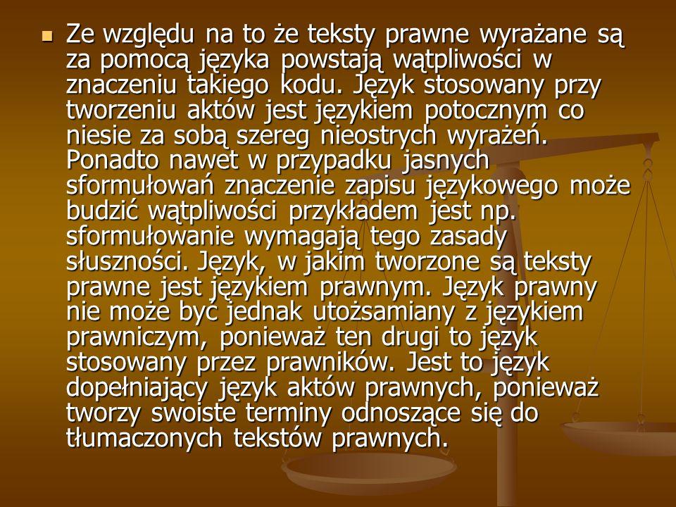 Ze względu na to że teksty prawne wyrażane są za pomocą języka powstają wątpliwości w znaczeniu takiego kodu. Język stosowany przy tworzeniu aktów jes