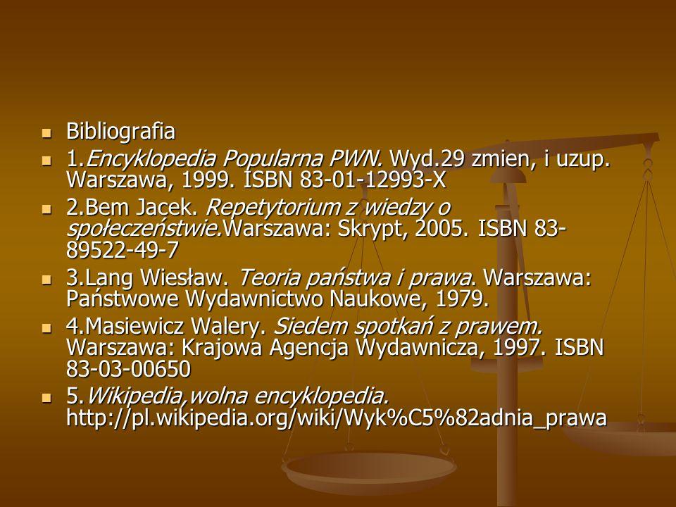 Bibliografia Bibliografia 1.Encyklopedia Popularna PWN. Wyd.29 zmien, i uzup. Warszawa, 1999. ISBN 83-01-12993-X 1.Encyklopedia Popularna PWN. Wyd.29