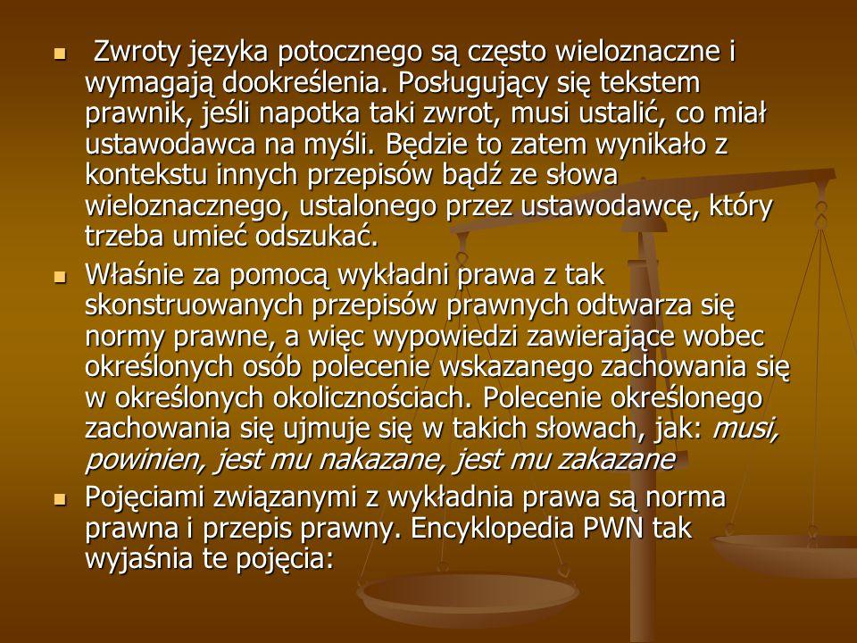 Zwroty języka potocznego są często wieloznaczne i wymagają dookreślenia. Posługujący się tekstem prawnik, jeśli napotka taki zwrot, musi ustalić, co m