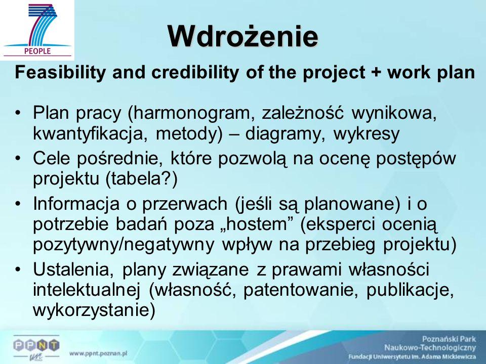 """Wdrożenie Feasibility and credibility of the project + work plan Plan pracy (harmonogram, zależność wynikowa, kwantyfikacja, metody) – diagramy, wykresy Cele pośrednie, które pozwolą na ocenę postępów projektu (tabela ) Informacja o przerwach (jeśli są planowane) i o potrzebie badań poza """"hostem (eksperci ocenią pozytywny/negatywny wpływ na przebieg projektu) Ustalenia, plany związane z prawami własności intelektualnej (własność, patentowanie, publikacje, wykorzystanie)"""