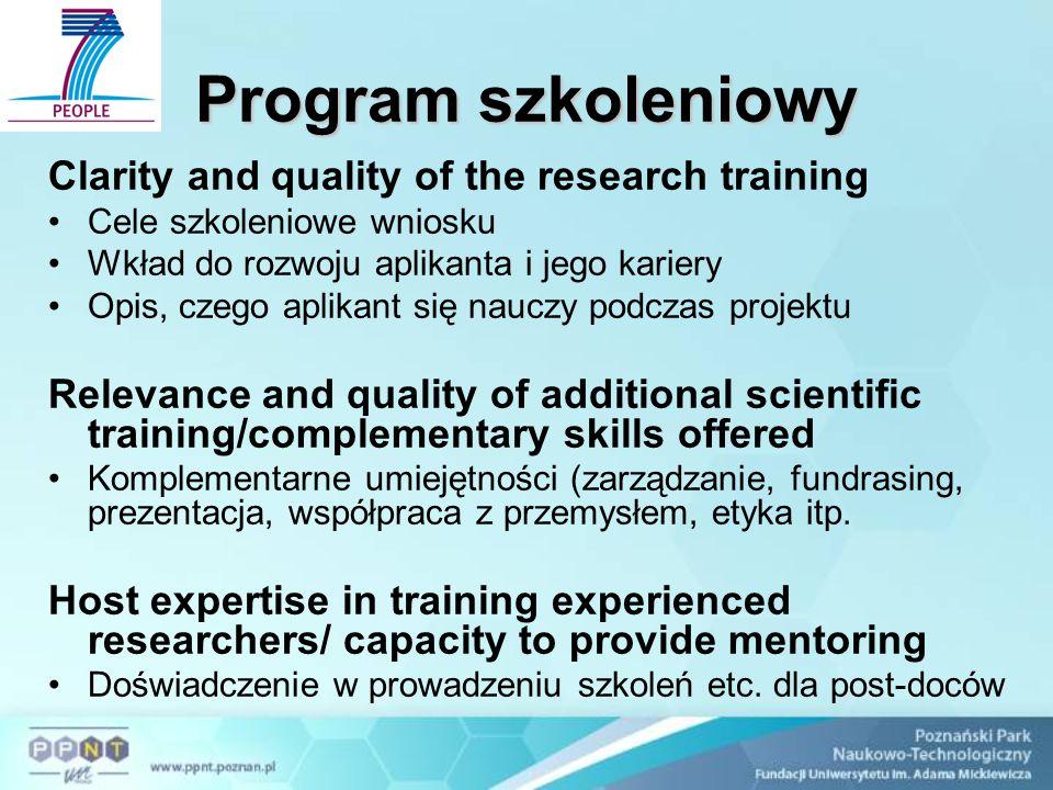 Jakość aplikanta, w tym CV Research experience Umiejętności potrzebne do przeprowadzenia projektu.