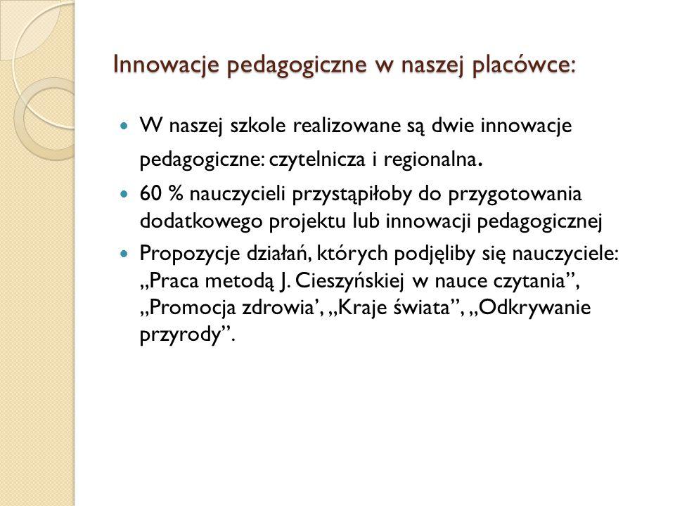 Innowacje pedagogiczne w naszej placówce: W naszej szkole realizowane są dwie innowacje pedagogiczne: czytelnicza i regionalna.