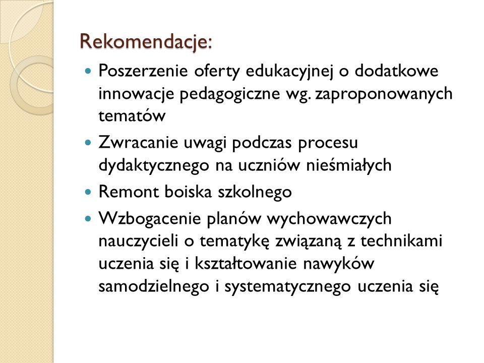 Rekomendacje: Poszerzenie oferty edukacyjnej o dodatkowe innowacje pedagogiczne wg. zaproponowanych tematów Zwracanie uwagi podczas procesu dydaktyczn