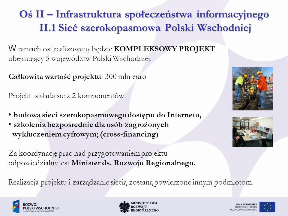 Oś II – Infrastruktura społeczeństwa informacyjnego II.1 Sieć szerokopasmowa Polski Wschodniej W ramach osi realizowany będzie KOMPLEKSOWY PROJEKT obe