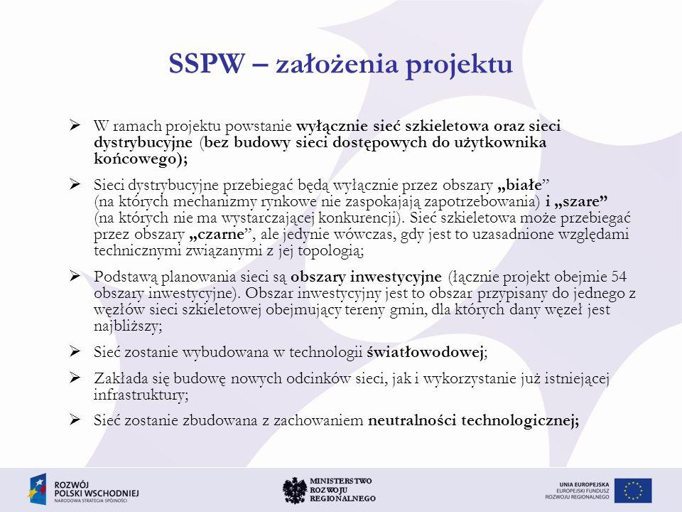 SSPW – założenia projektu  Sieć będzie otwarta na równych zasadach dla wszystkich zainteresowanych przedsiębiorców telekomunikacyjnych dostarczających usługi szerokopasmowe bezpośrednio odbiorcom końcowym;  Infrastruktura wybudowana w ramach projektu będzie własnością poszczególnych województw Polski Wschodniej;  Wybudowana sieć zostanie powierzona w zarządzanie przedsiębiorcy telekomunikacyjnemu w drodze umowy o partnerstwie publiczno- prywatnym;  Procesowi budowy sieci towarzyszyć będą działania o charakterze informacyjnym i edukacyjnym.