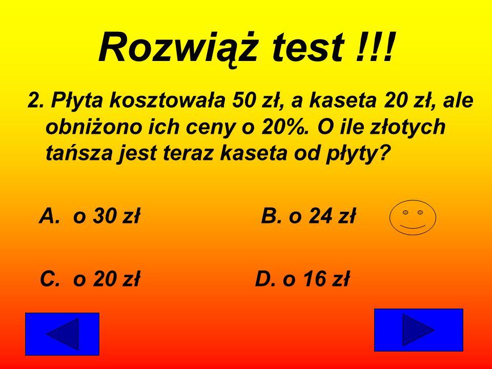 Rozwiąż test !!! 1.Na którym rysunku zamalowano mniej niż 60% niebieskiej figury? A. B. C. D.