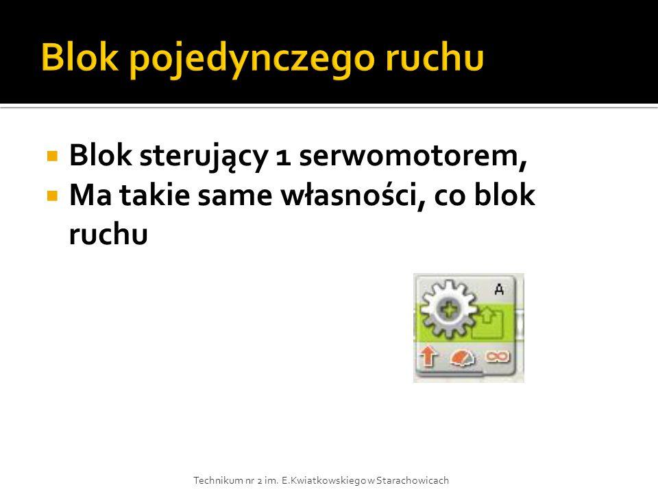  Blok sterujący 1 serwomotorem,  Ma takie same własności, co blok ruchu Technikum nr 2 im. E.Kwiatkowskiego w Starachowicach