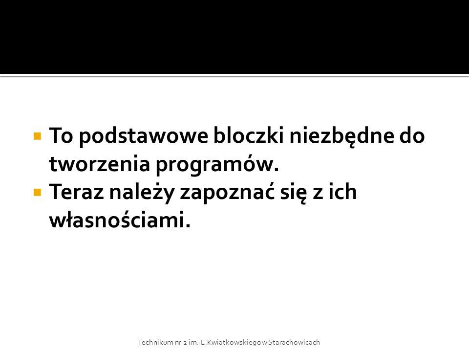  To podstawowe bloczki niezbędne do tworzenia programów.
