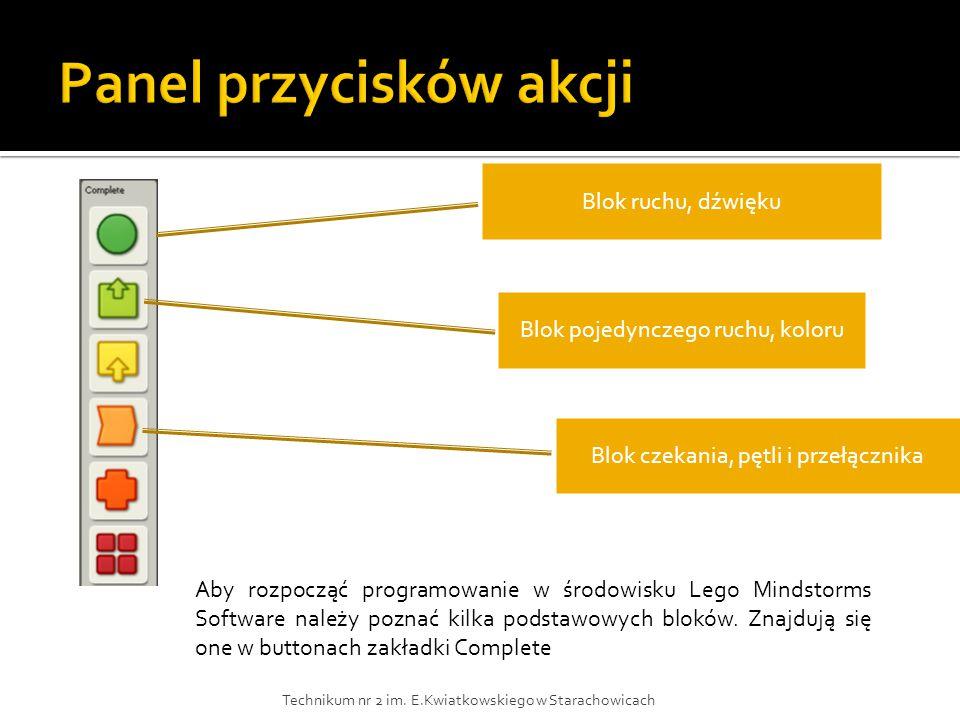 Blok ruchu, dźwięku Blok pojedynczego ruchu, koloru Blok czekania, pętli i przełącznika Aby rozpocząć programowanie w środowisku Lego Mindstorms Software należy poznać kilka podstawowych bloków.