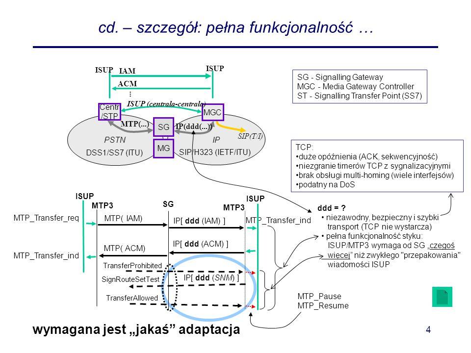 """Sigtran5 SIGTRAN - funkcje A zatem - główna idea transportu sygnalizacji SS7/IP –cel ogólny: funkcjonalne przeniesienie """"protokołu warstwy N –ale są """"drobne niuanse odnośnie tego co przenosić fizycznie… SCTP - Stream Control Transmission Protocol (RFC 2960) zarządzanie asocjacjami i strumieniami (połączeniami #7 data link) sekwencyjność w obrębie poszczególnych strumieni segmentacja i składanie danych warstwy adaptacyjnej potwierdzanie, sterowanie przepływem, detekcja/eliminacja błędów np."""