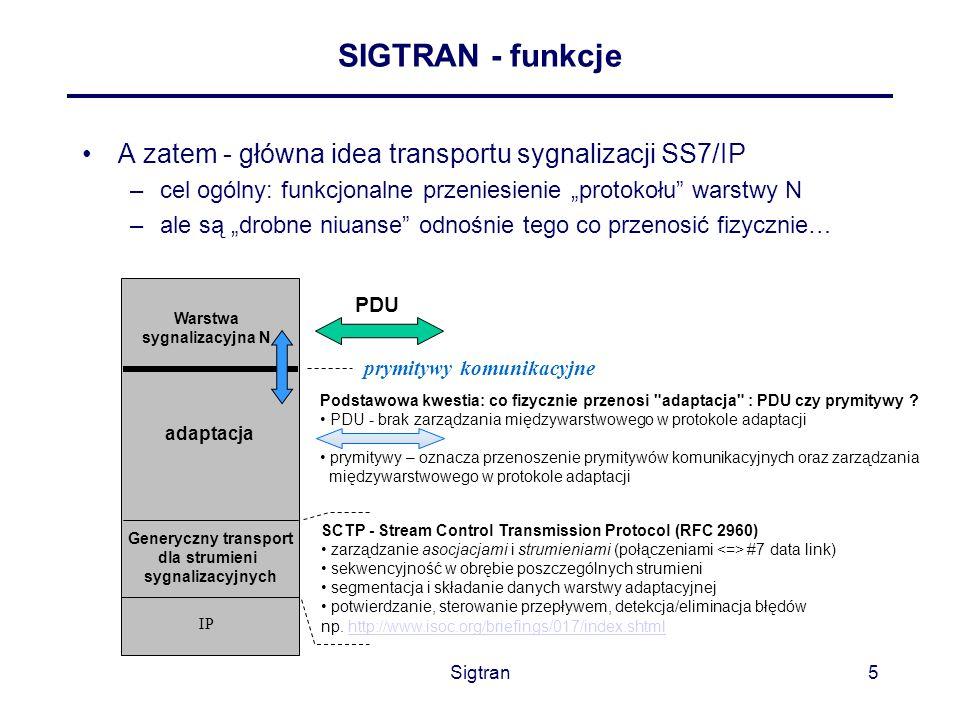 """Sigtran5 SIGTRAN - funkcje A zatem - główna idea transportu sygnalizacji SS7/IP –cel ogólny: funkcjonalne przeniesienie """"protokołu"""" warstwy N –ale są"""