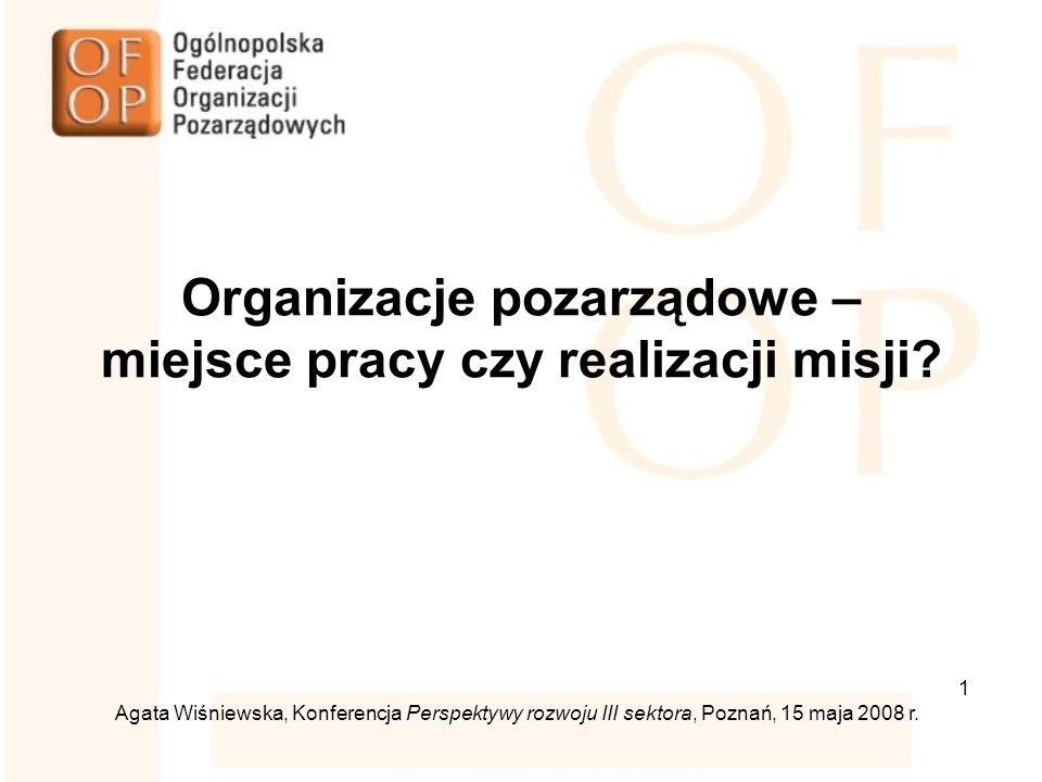 1 Agata Wiśniewska, Konferencja Perspektywy rozwoju III sektora, Poznań, 15 maja 2008 r.