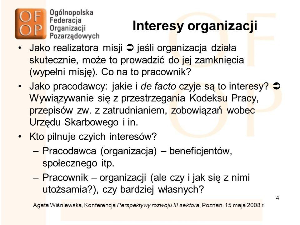ii Niebezpieczeństwo konfliktu działacze  pracownicy: –działacze zwykle pracują w innych miejscach, –podział kompetencji, –misja czy profesjonalizm: czy nie jest to konflikt logicznie fałszywy.