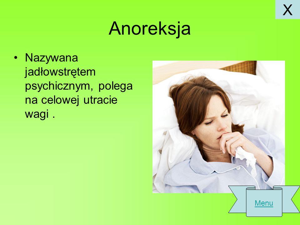 Anoreksja Nazywana jadłowstrętem psychicznym, polega na celowej utracie wagi. Menu X