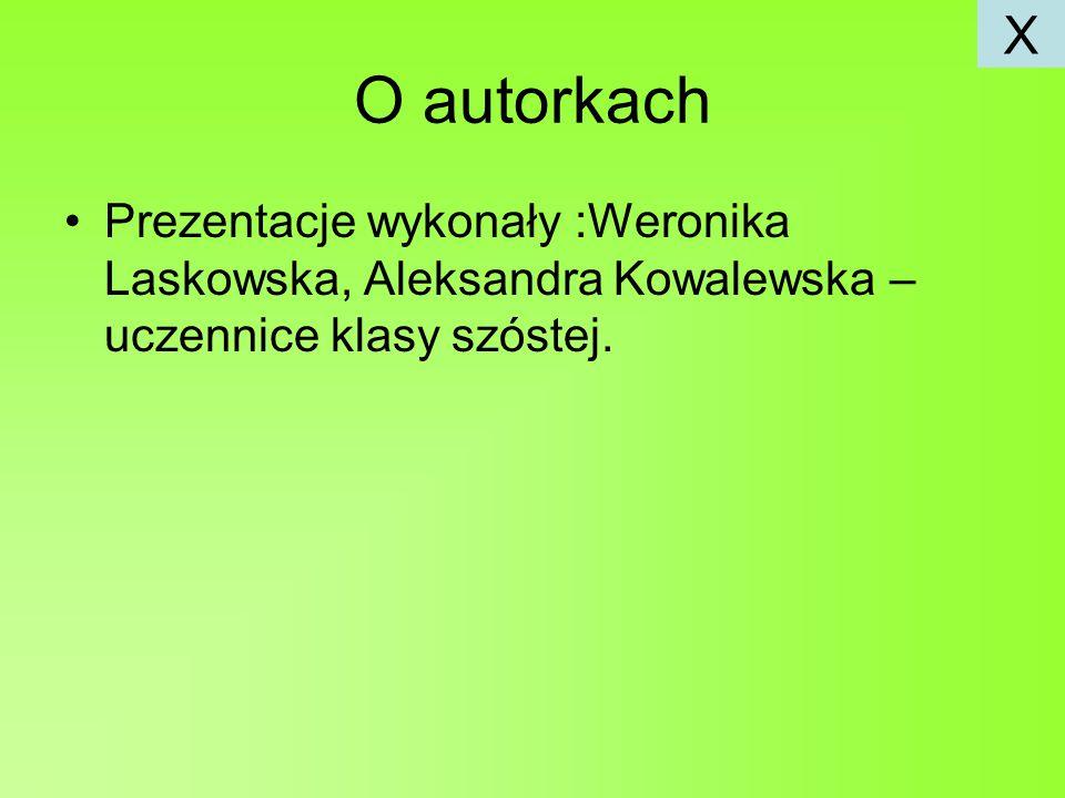 O autorkach Prezentacje wykonały :Weronika Laskowska, Aleksandra Kowalewska – uczennice klasy szóstej.