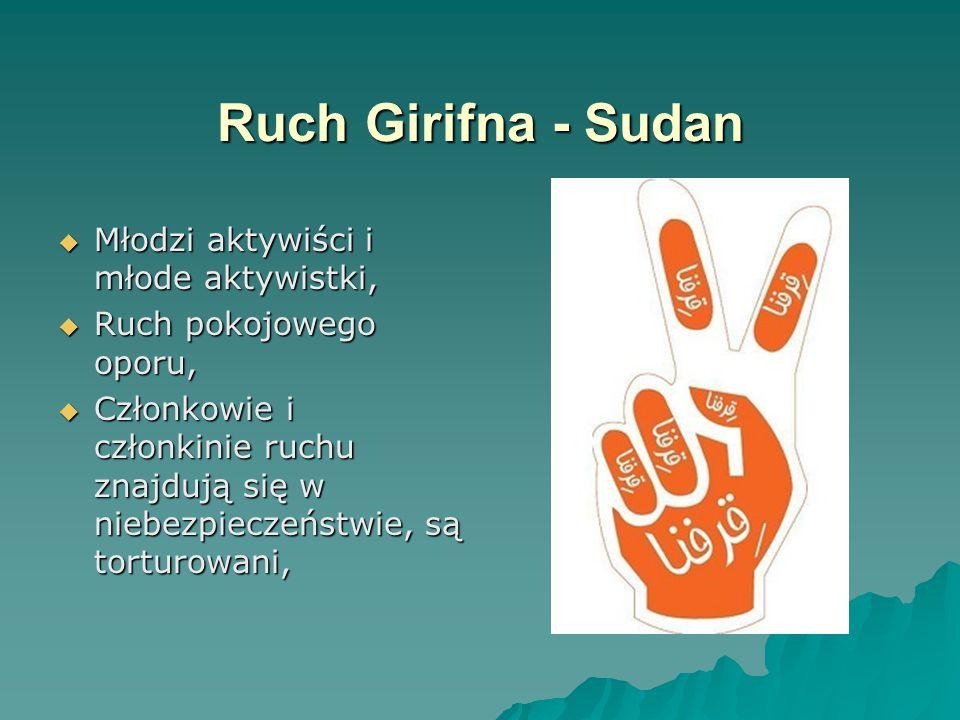 Ruch Girifna - Sudan  Młodzi aktywiści i młode aktywistki,  Ruch pokojowego oporu,  Członkowie i członkinie ruchu znajdują się w niebezpieczeństwie, są torturowani,