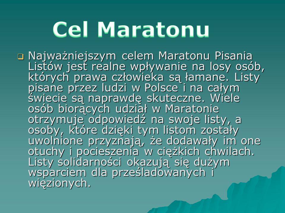  Najważniejszym celem Maratonu Pisania Listów jest realne wpływanie na losy osób, których prawa człowieka są łamane. Listy pisane przez ludzi w Polsc