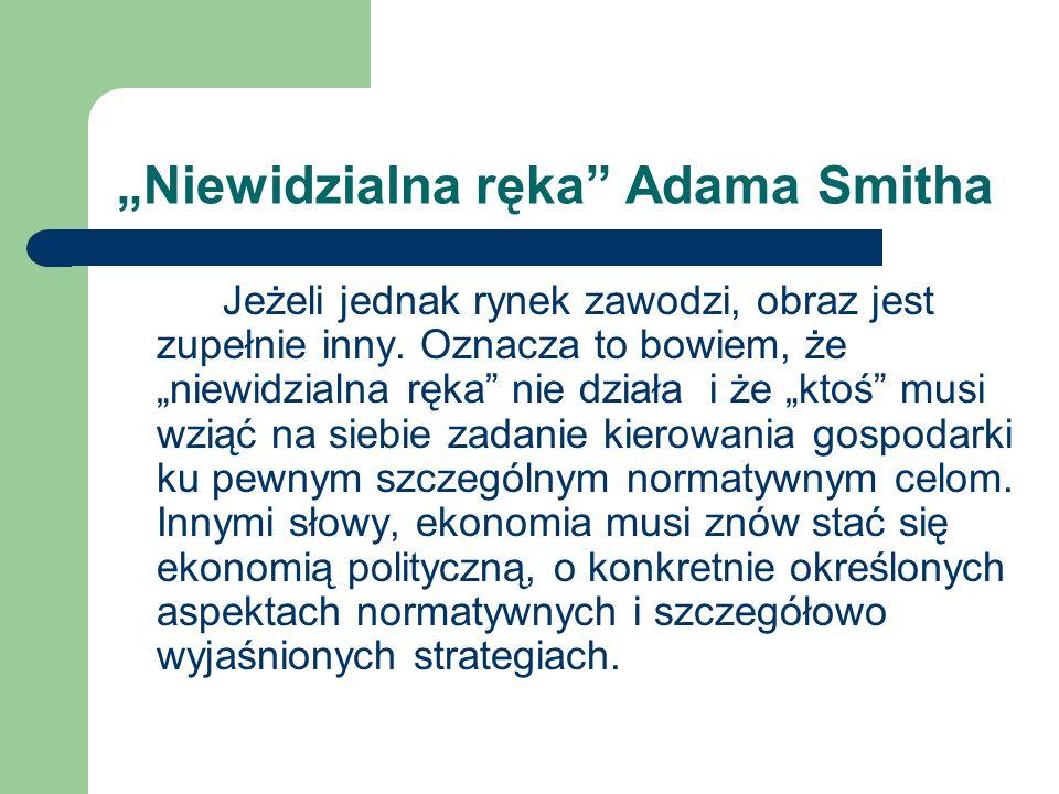 """""""Niewidzialna ręka"""" Adama Smitha Jeżeli jednak rynek zawodzi, obraz jest zupełnie inny. Oznacza to bowiem, że """"niewidzialna ręka"""" nie działa i że """"kto"""