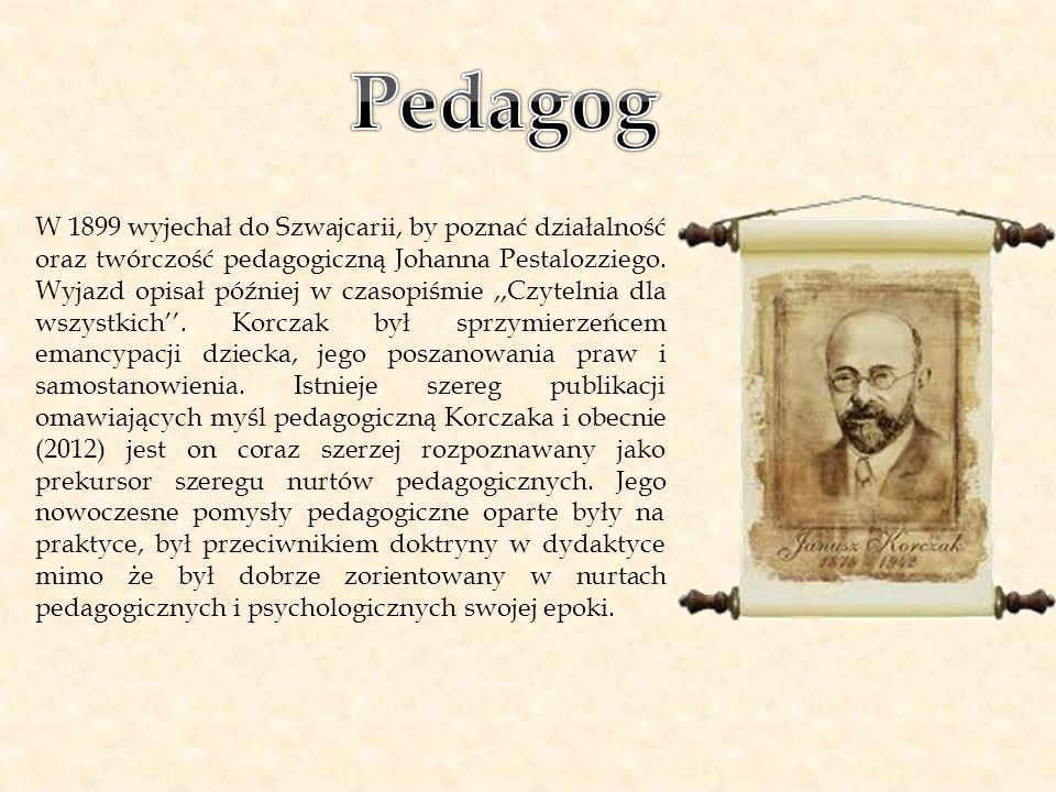 W 1899 wyjechał do Szwajcarii, by poznać działalność oraz twórczość pedagogiczną Johanna Pestalozziego. Wyjazd opisał później w czasopiśmie,,Czytelnia