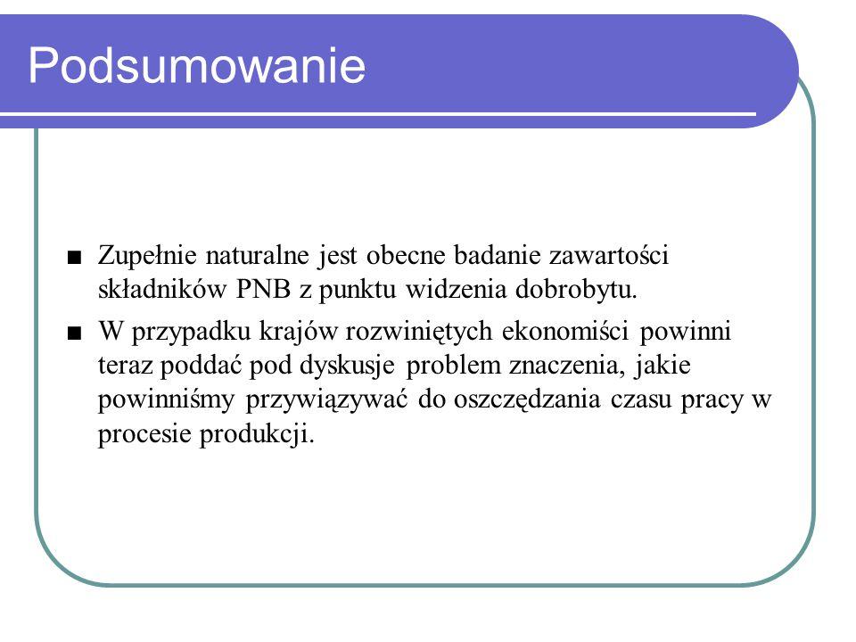 Podsumowanie ■Zupełnie naturalne jest obecne badanie zawartości składników PNB z punktu widzenia dobrobytu.