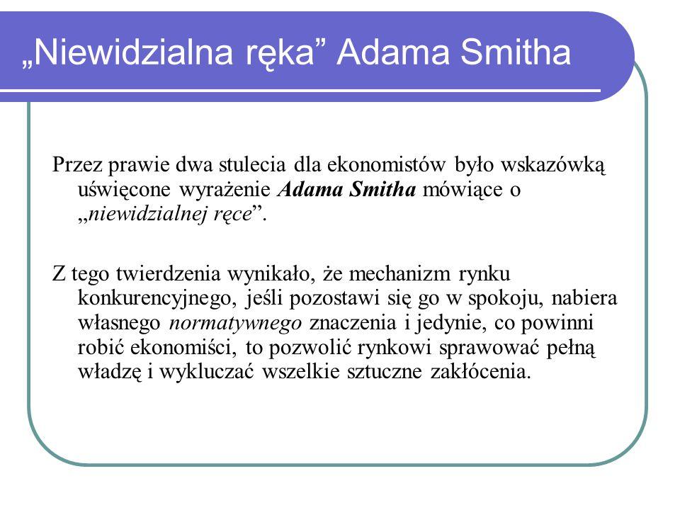 """""""Niewidzialna ręka Adama Smitha Przez prawie dwa stulecia dla ekonomistów było wskazówką uświęcone wyrażenie Adama Smitha mówiące o """"niewidzialnej ręce ."""