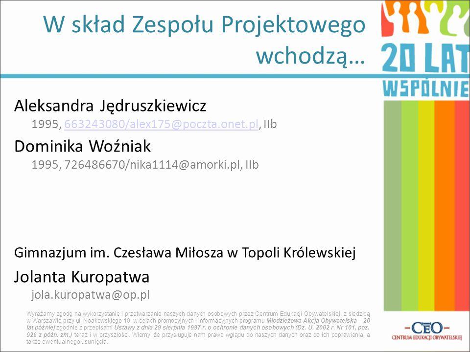 Aleksandra Jędruszkiewicz 1995, 663243080/alex175@poczta.onet.pl, IIb663243080/alex175@poczta.onet.pl Dominika Woźniak 1995, 726486670/nika1114@amorki.pl, IIb Gimnazjum im.