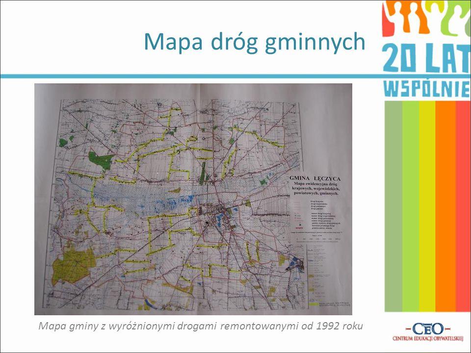 Mapa dróg gminnych Mapa gminy z wyróżnionymi drogami remontowanymi od 1992 roku