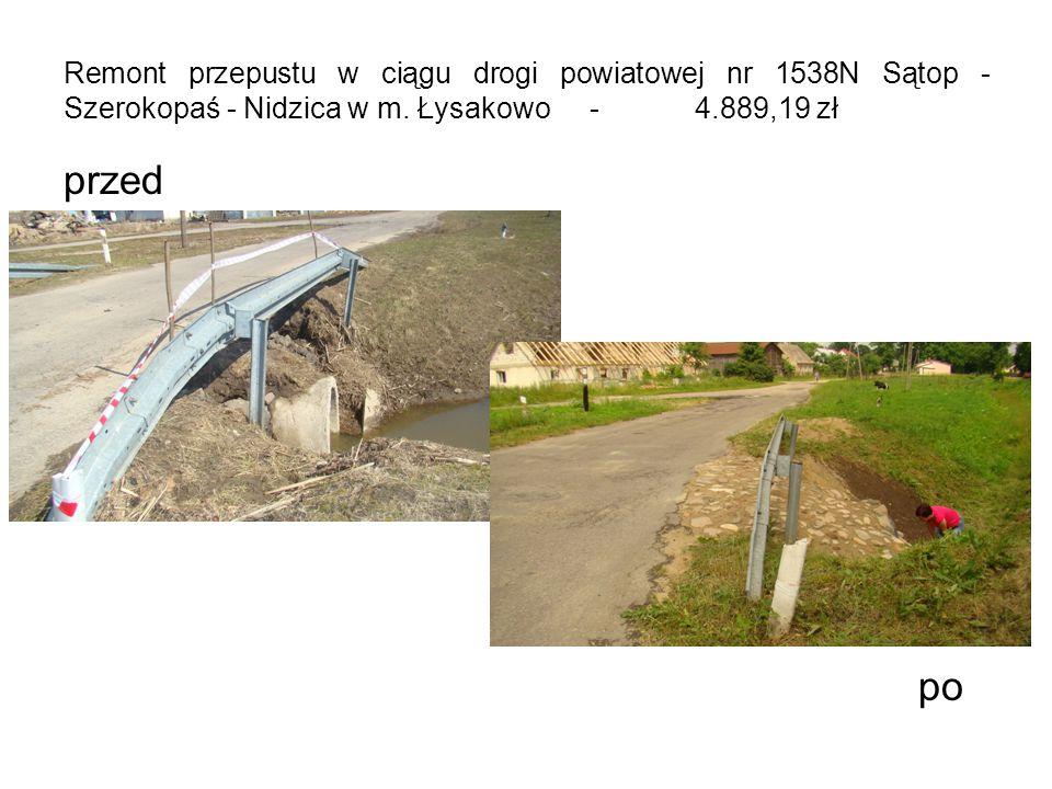 Remont przepustu w ciągu drogi powiatowej nr 1538N Sątop - Szerokopaś - Nidzica w m.