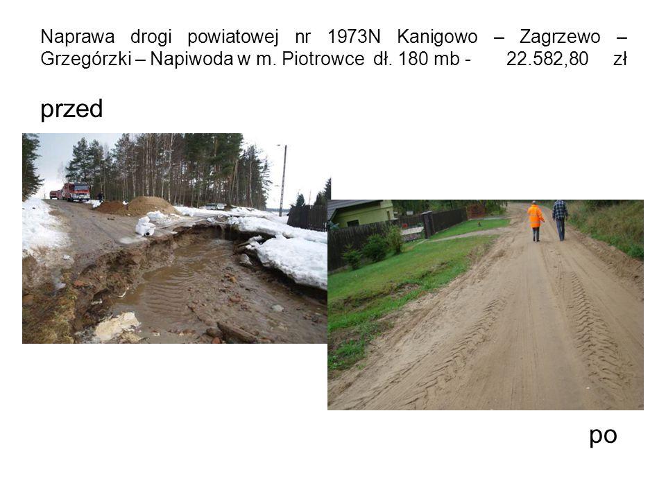 Naprawa drogi powiatowej nr 1973N Kanigowo – Zagrzewo – Grzegórzki – Napiwoda w m.